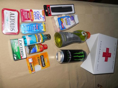 The contents of the emergency 21st birthday kit (7/11)