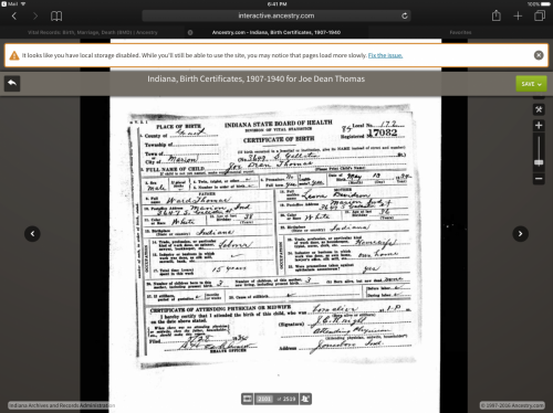 Dad's Birth Certificate – 1934