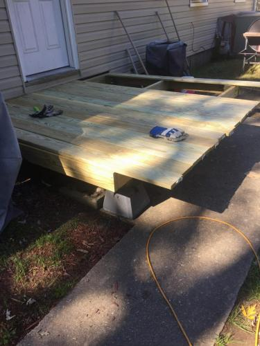 Deck rebuild - deck board dry fit.  (Decided we need more frame stringers)