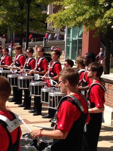 WKU Drumline warm ups vs Navy (10/13)