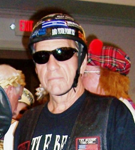 Dad as a Halloween biker